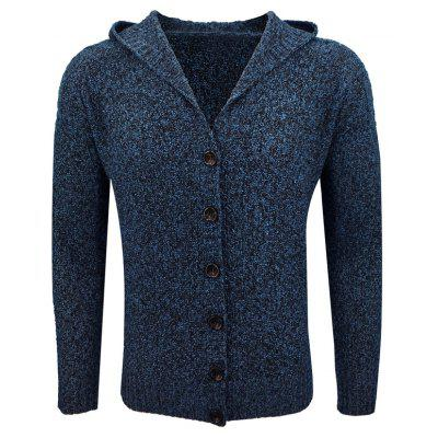 European and American Men'S Autumn and Winter Hooded Slim Jacquard Sweater Casual Fashion Solid Color Single-Breasted Cardigan