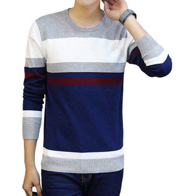 Men'S Round Neck Pullover  Youth Striped