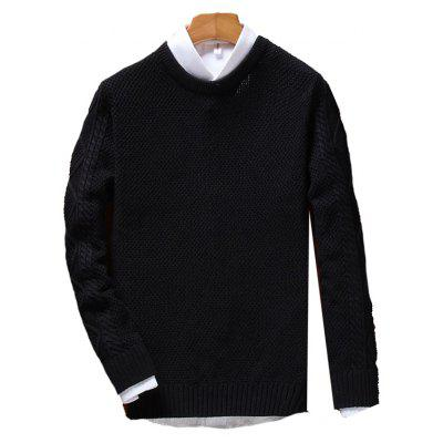 Men'S Solid Color Crew Neck Sweater Youth Leisure Sweater Hedging