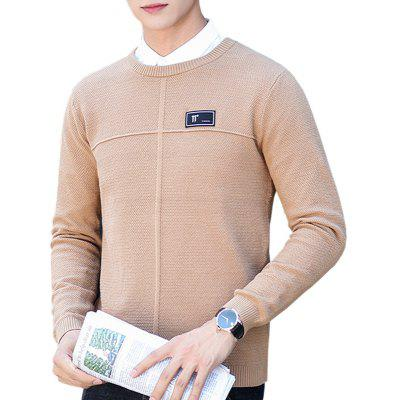 1705 Men'S Round Neck Pullover Youth Solid Color