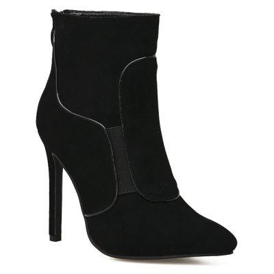 Short Boot Black Leather Short Boot Shoes Ultra High Heels