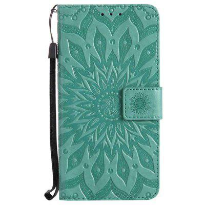 Embossed Sun Flower PU TPU Phone Case for Moto G6