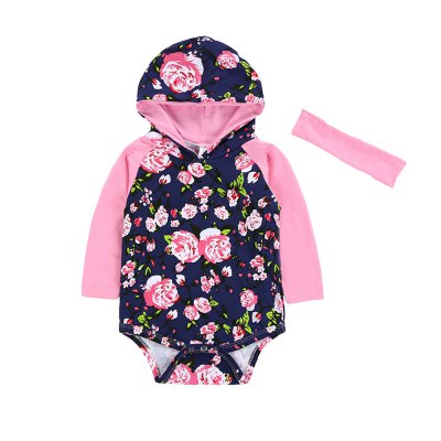 SOSOCOER  Newborn Infant Girls Bodysuits Flower Hooded  Romper With Two Piece