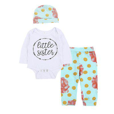 SOSOCOER Baby Girls Clothes Set Letters Flowers Prints Conjoined Clothes Pants Hats Three Suits