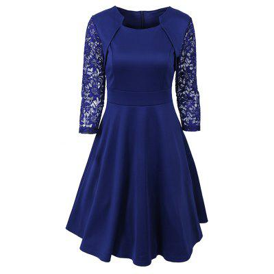 Buy NAVY BLUE L Women's Elegant Summer Lace Sleeve Tunic Pin Up Vintage Work Office Casual Party A Line Cocktail Swing Dress for $19.70 in GearBest store