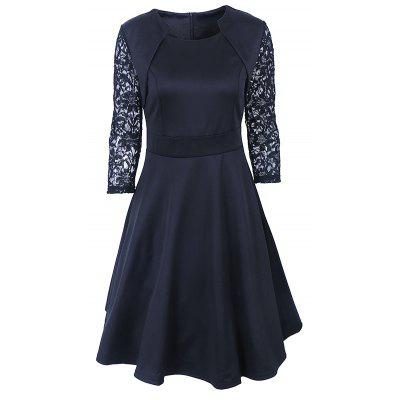 Buy BLACK L Women's Elegant Summer Lace Sleeve Tunic Pin Up Vintage Work Office Casual Party A Line Cocktail Swing Dress for $27.26 in GearBest store