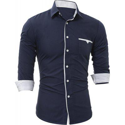 2017 Autumn and Winter New Patch Pocket Trim Men'S Casual Slim Long-Sleeved Shirt