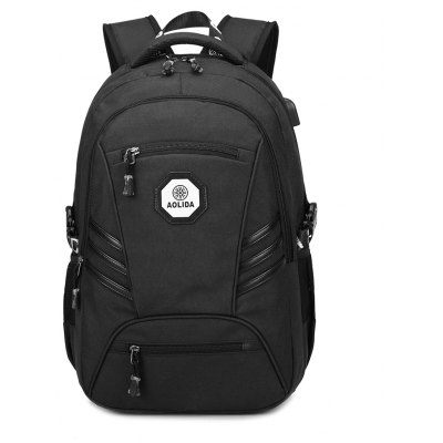 Buy BLACK Fashion PVC Waterproof Backpack with Usb Charging Port Travel Bag for $47.56 in GearBest store