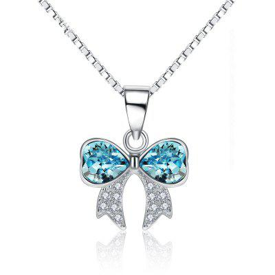 JAMOUR S925 Silver Crystal Bowknot Ladies Personalized Hypoallergenic Pendant Necklace