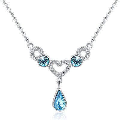 JAMOUR S925 Silver Inlay Love Drops Blue Crystal Ladies Fashion Classic Wild Hypoallergenic Pendant Necklace