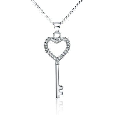 JAMOUR S925 Silver-studded Zircon Key Personalized Wild Lady Hypoallergenic Pendant Necklace