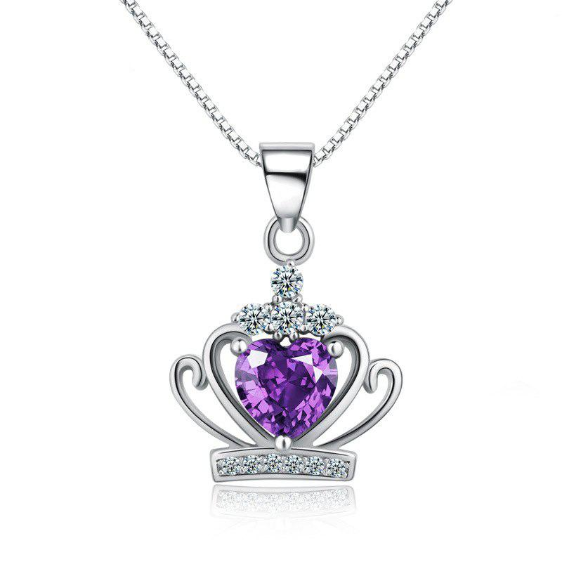 sku diamond necklace round s purple women pendant xinguang silver edge p simple