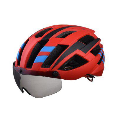 L-003 Bicycle Helmet Bike Cycling Adult Adjustable Unisex Safety Equipment with Visor Len