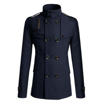Men's Pea Coat Double Breasted Wool Blend