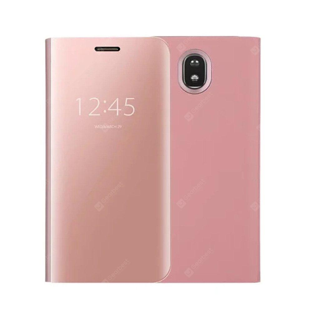 With Stand Plating Mirror Flip Auto Sleep Wake Up Full Body Solid Color Hard PC Case Cover for Galaxy J7 (2017) / J7 Pro