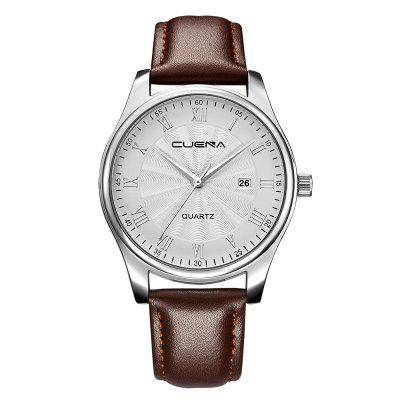 CUENA 6613P Men Genuine Leather Strap Fashion Casual Quartz Wristwatch
