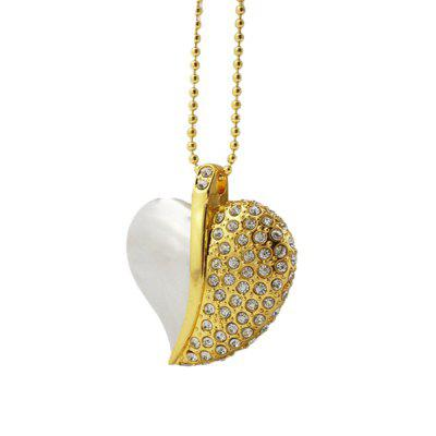 XY0 Crystal Heart-shaped Waterproof Necklace U Disk High Speed 16G Magnetic Crystal