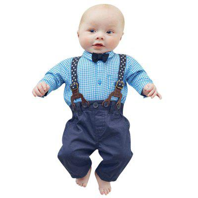 2PCS Kids Baby Boys Toddler Plaid Shirt + Suspender Pants Overalls Clothes