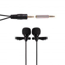 Ulanzi 1.5m/6m Dual-Head Clip on Mini Lapel Microphone Lavaliere Omnidirectional Condenser Microphone for iPhone Android Mobile Phone