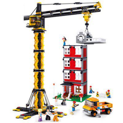 Crane Tower and Building - 1461 Pieces  Educational Blocks Toys