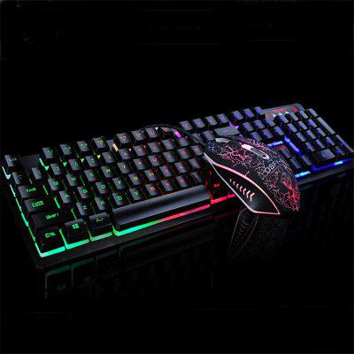 USB Wired Gaming Keyboard and Mouse Kit Backlights Keys and 2400DPI Mice gaming usb wired mouse zelotes c 12 programmable buttons led optical usb gaming mouse mice 4000 dpi souris sans fil