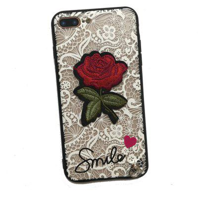 Lace Rose Flowers Full Protection Case TPU+PC Back Cover with Hang Rope for iPhone 8 Plus / 7 Plus