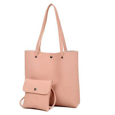 Two Pieces of Lychee Grain Single Shoulder Magnetic Button Female Bag