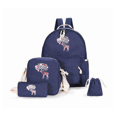 Four Piece Double Shouldered Canvas Fashion Style Women's Bags