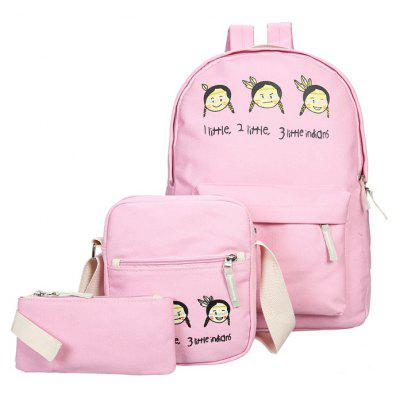 Three-Piece Canvas Print Girl Double Shoulder Travel Bag