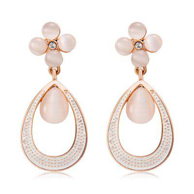 Quatrefoil e Dew Alloy + Imitation Opal Earrings - Rose Gold (coppia)