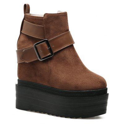 The Women'S Wedge and Velvet Belt Will Raise The Muffin Top and The Bare Boots