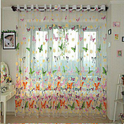 Printing Butterfly  Transparent Curtain