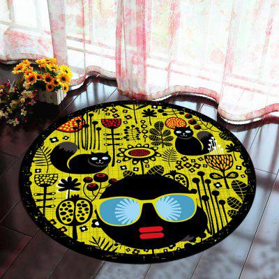 Floor Mat Modern Style Faces Pattern Yellow Black Round Decorative Mat