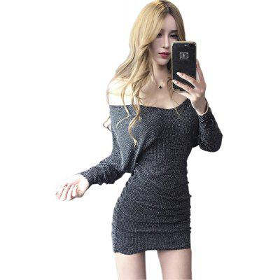 Buy SILVER M Sexy Nightclubs V-neck Back Dress for $23.81 in GearBest store