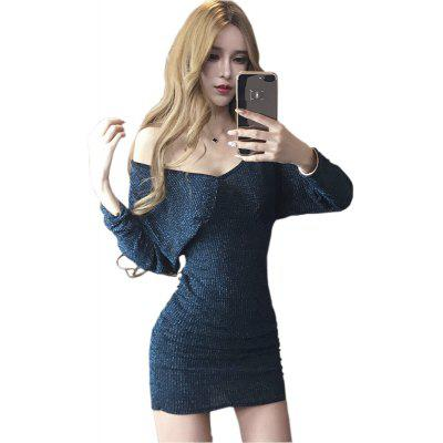 Buy BLUE L Sexy Nightclubs V-neck Back Dress for $23.81 in GearBest store