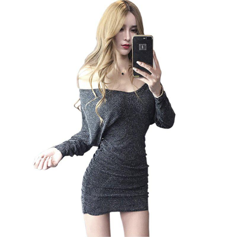 SILVER M Sexy Nightclubs V-neck Back Dress