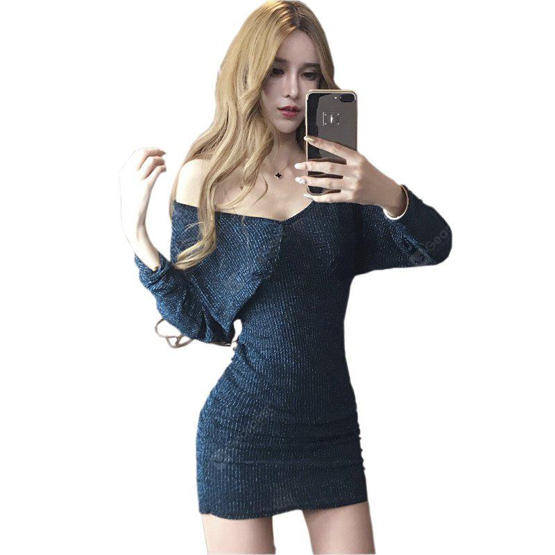BLUE S Sexy Nightclubs V-neck Back Dress