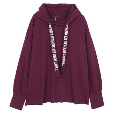 Buy WINE RED L Loosely Woven Hooded Hoodie for $20.78 in GearBest store