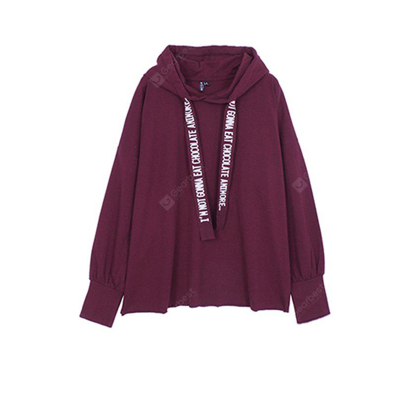 WINE RED XL Loosely Woven Hooded Hoodie