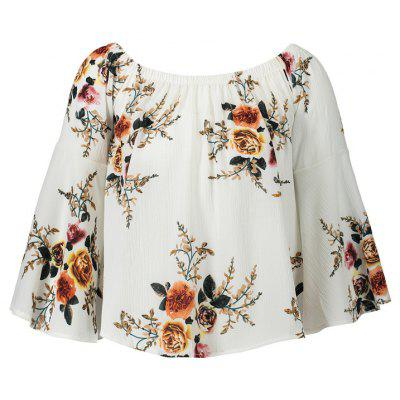 European and American Print  One-Word Collar with Flared  T-Shirt