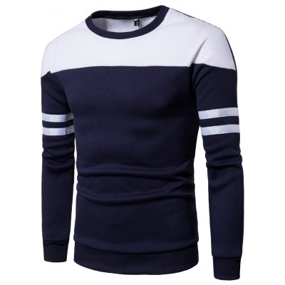 Buy CADETBLUE M Men'S New Casual Pullover Fashion Spell Color Sweatershirt for $13.99 in GearBest store