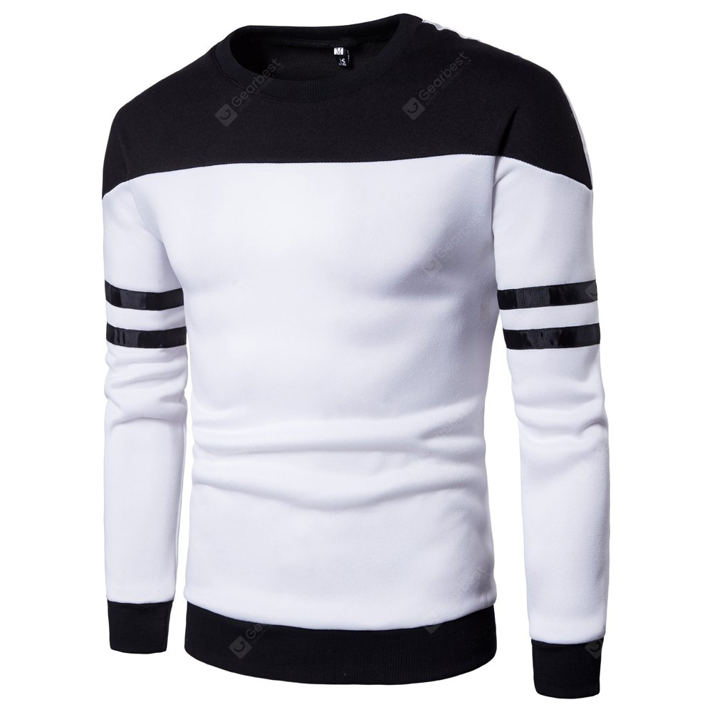 WHITE 2XL Men'S New Casual Pullover Fashion Spell Color Sweatershirt