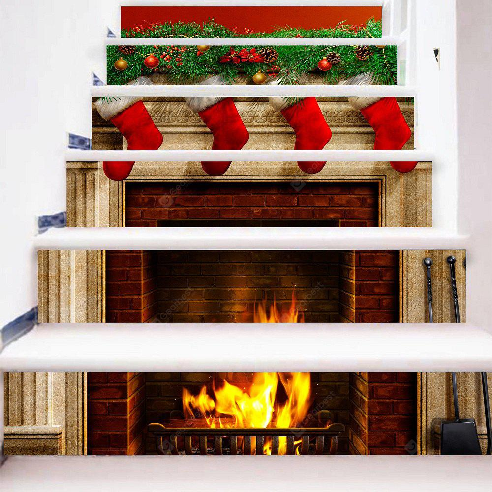 Christmas Green Leaves Red Sock Gifts Stairs Stickers PVC Full Color Stove Fire Stairway Decals