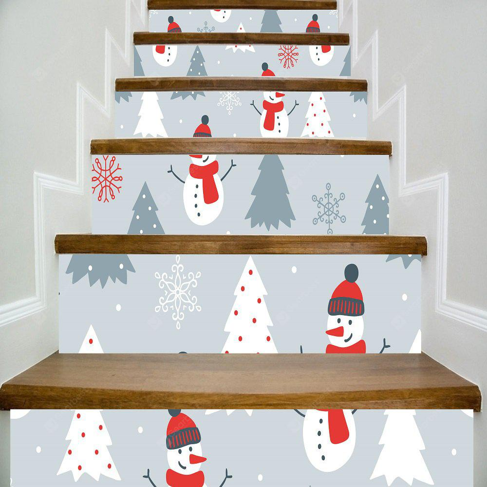 1Set/6Pcs Christmas Snowman with Red Nose Stairs Stickers Xmas Tree Flake Full Color Stairway Sticker