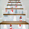 1Set/6Pcs Christmas Snowman with Red Nose Stairs Stickers Xmas Tree Flake Full Color Stairway Sticker - MIXED COLOR