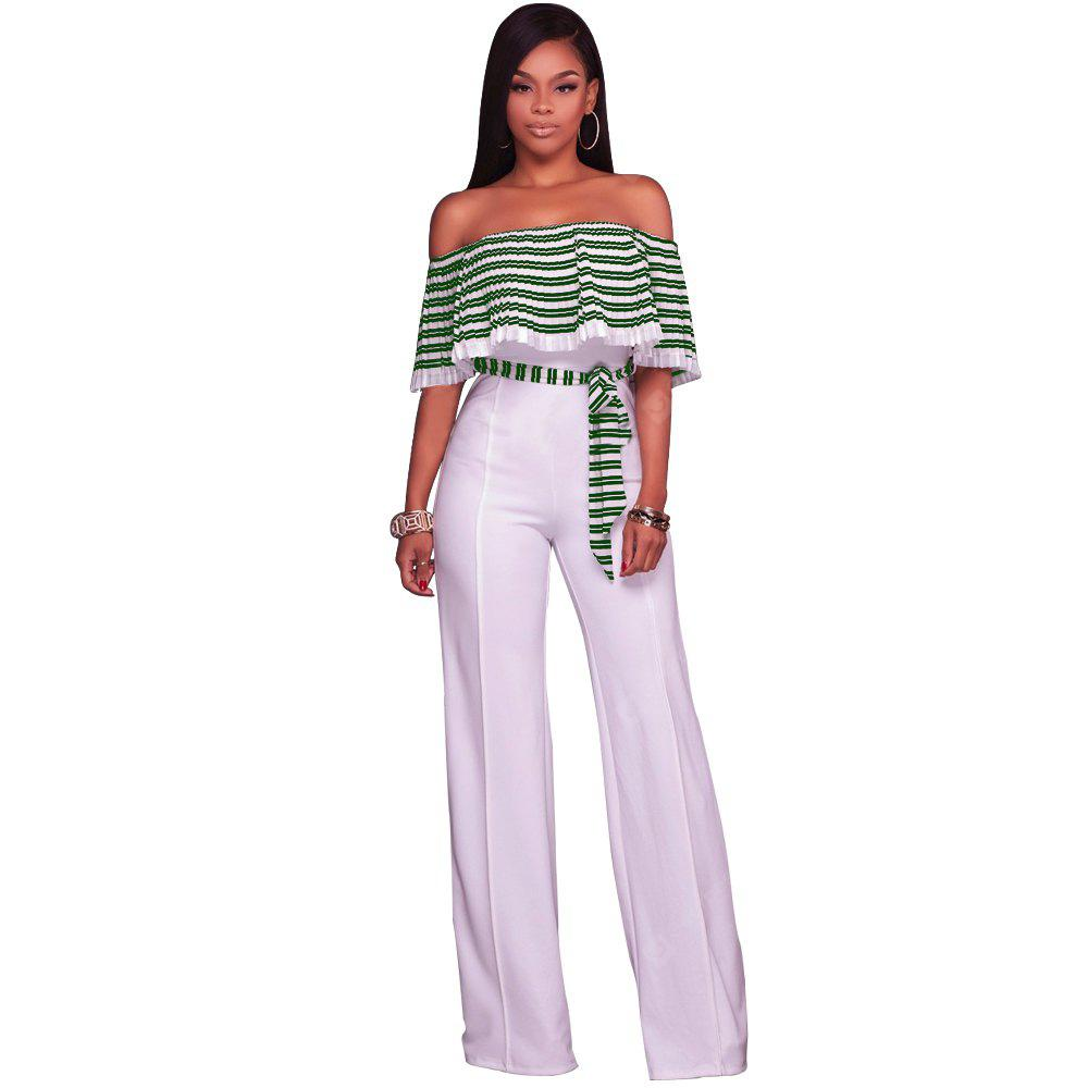 Fashionable Women'S Women'S Sexy Pleated Flaps with Wide Leg Jumpsuits