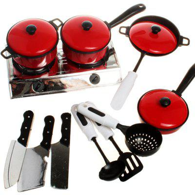 13PCS Children House Kitchen Toys Utensils Cooking Pots Pans Food Dishes Cookware Baby Kids Kitchen Toy Set