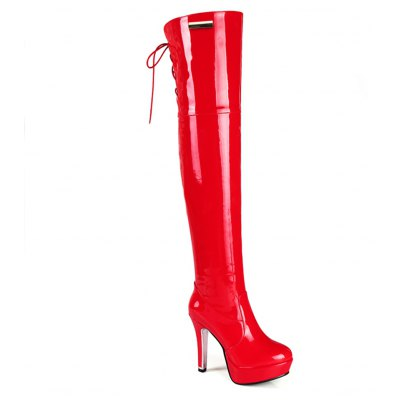 Sexy Long Canister Boots Leather Side Zipper Lace High-heeled Super Waterproof Performance