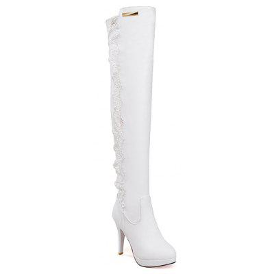 Sexy Long Canister Boots Lace Side Zipper Lace High-heeled Super Waterproof