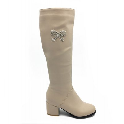 New Diamond Bow Tall Canister Boots High Heels